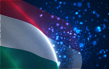 Vector bright glowing country flag of abstract dots. Hungary
