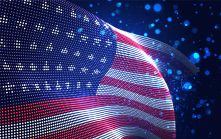 Vector bright glowing country flag of abstract dots. USA