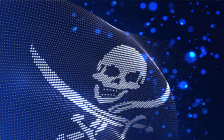 Vector bright glowing country flag of abstract dots. pirate skull and bones