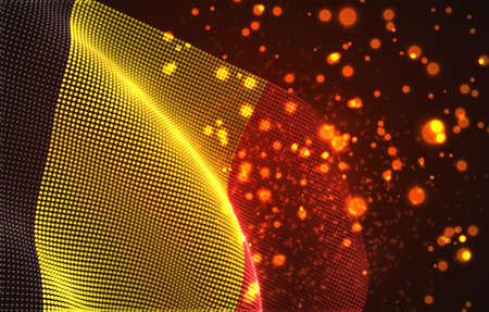 Vector bright glowing country flag of abstract dots. Belgium Иллюстрация