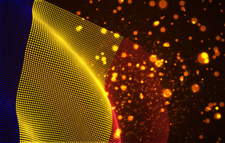 Vector bright glowing country flag of abstract dots. Romania
