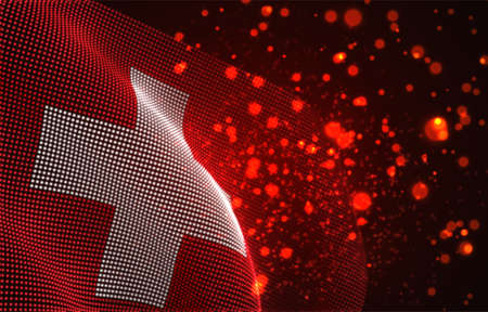 Vector bright glowing country flag of abstract dots. Switzerland