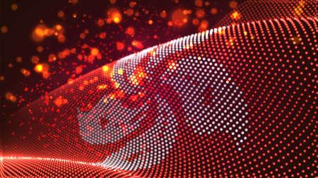 Vector bright glowing country flag of abstract dots. Hong kong