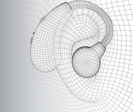 vector human ear. hearing treatment, plastic surgery, implantation