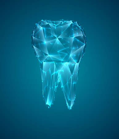 vector 3d tooth for dental medicine. on a blue background