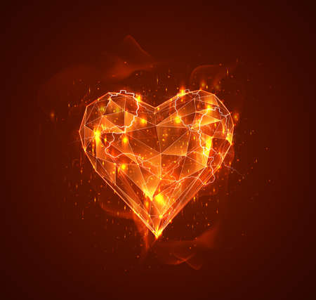 vector heart and thunderbolt. the passion of the elements Illustration