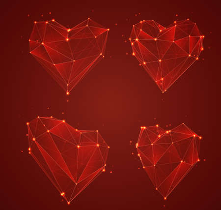 set of vector bulk hearts for medicine and holiday Illustration