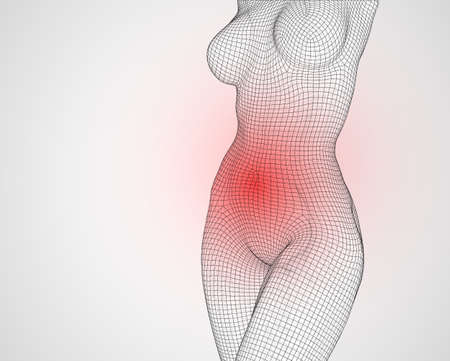 3d female body from square polygons. vector. cure for pain Иллюстрация