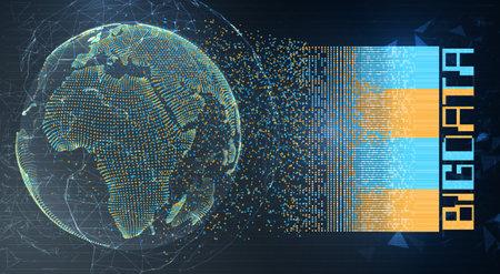 vector globe, planet earth, from dots. concept bigdata, processing and data collection Ilustración de vector