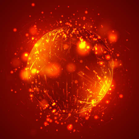 vector abstract element with explosion, sphere and glow, a hurricane and a stream of bright reflections.