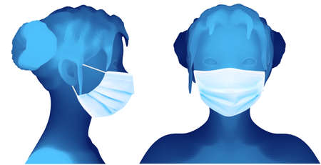 set of female 3d portrait in medical mask white background