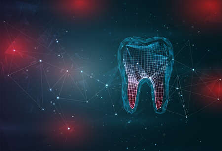 tooth and dentistry symbol on an abstract gray blue background with red flashes
