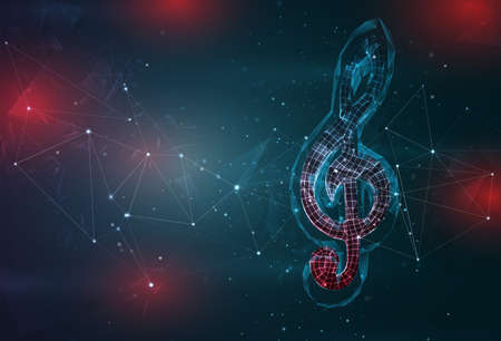 treble clef symbol on an abstract gray blue background with red flashes