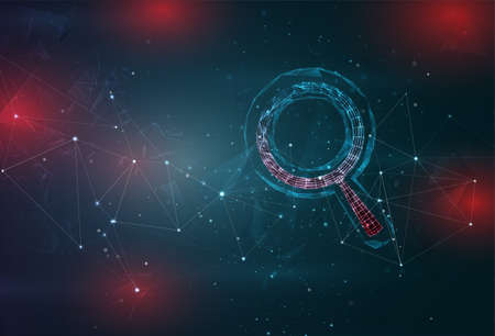 magnifying glass search symbol on an abstract gray blue background with red flashes