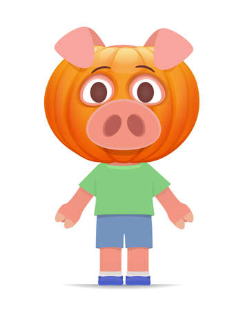 young funny vector pig standing isolated on white background. the pumpkin is dressed on the head. costume for halloween