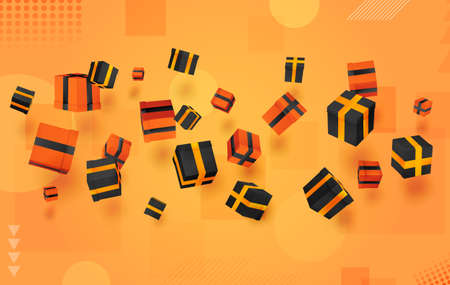 vector set. holiday gifts in boxes fly over bright colorful background. festive mood.