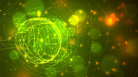 vector sphere made of threads in green and yellow colors