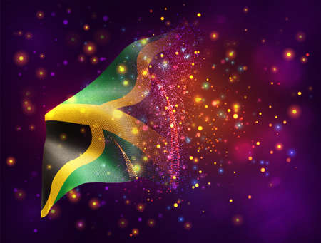 Jamaica, vector 3d flag on pink purple background with lighting and flares