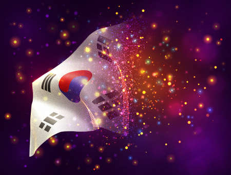 Korea, vector 3d flag on pink purple background with lighting and flares
