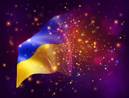 Ukraine, vector 3d flag on pink purple background with lighting and flares
