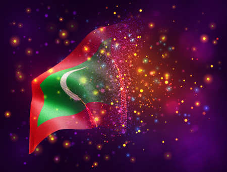 Maldives, vector 3d flag on pink purple background with lighting and flares
