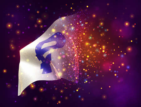 currency rubles on vector 3d flag on pink purple background with lighting and flares