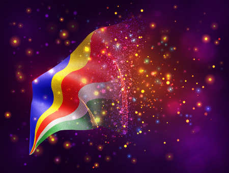 Seychelles, vector 3d flag on pink purple background with lighting and flares