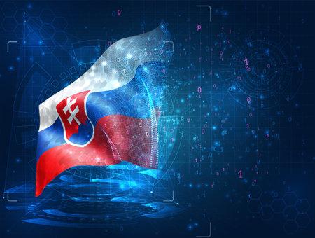 Slovakia, vector 3d flag on blue background with hud interfaces Векторная Иллюстрация