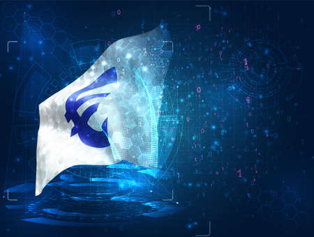 euro currency on vector 3d flag on blue background with hud interfaces Ilustracja