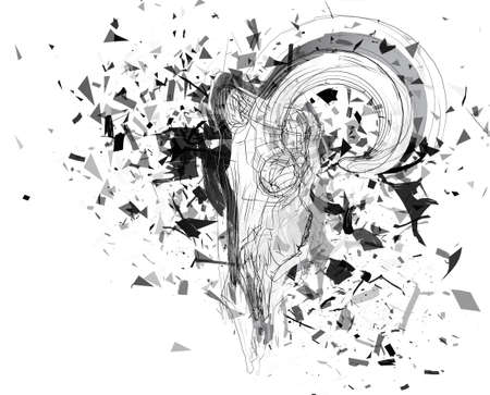 Vector abstract chaotic background. exploded lamb skull