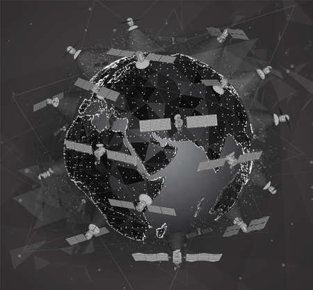 vector planet with 5g communication satellites made of glowing dots and polygons on colored background