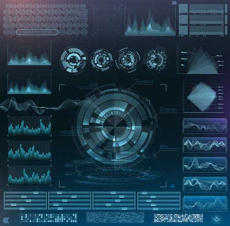 Vector futuristic interface hud design. Set infographic elements. virtual hologram, landscape, levels, waves and vibrations, keyboard