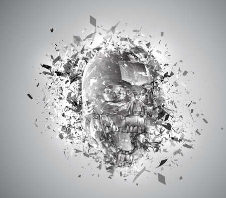 vector exploded skull with splashes in all directions. terrible and beautiful template