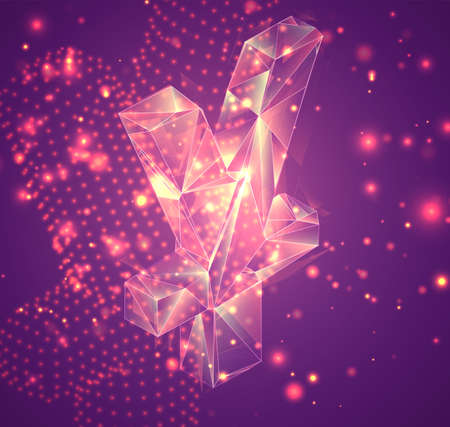 3d vector symbol on a pink background, exploded crystal