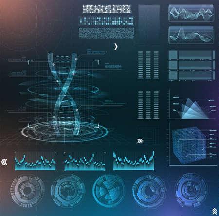 Vector futuristic interface hud design. Set infographic elements. virtual hologram, medicine and DNA analysis