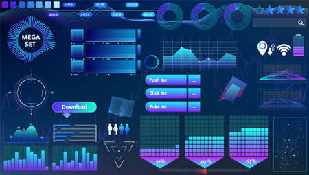 blue-violet vector HUD set in trend colors for design and device applications