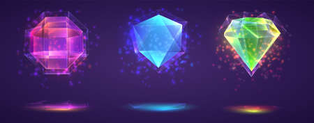 vector set of magic crystals. bright rainbow finished gemstone
