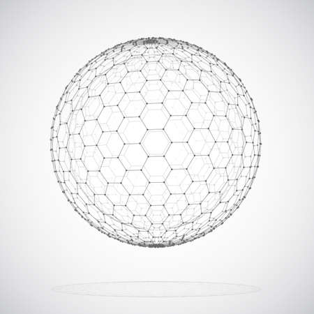 Vector 3d object from a hexagon grid with dots. stylish design