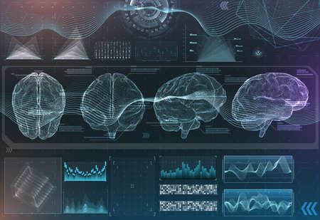 vector set of brain research interfaces. functional magnetic resonance imaging. hud in blue tones Vector Illustratie