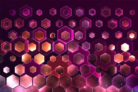 vector space background with hexagons and bright highlights