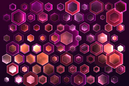 vector space background with hexagons and bright highlights Vektoros illusztráció