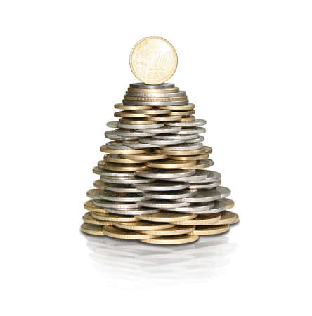 Money tree with coins Stock Photo