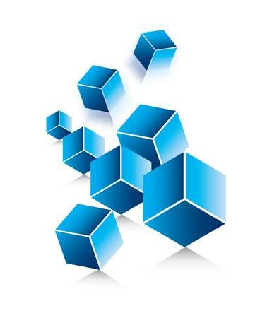 Falling blue cubes Illustration