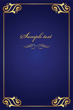 royal background: book cover - gold with blue Illustration