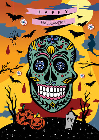 Happy Halloween poster - vector illustration