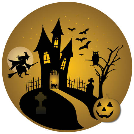 Halloween night with pumpkin castle - vector illustration Illustration
