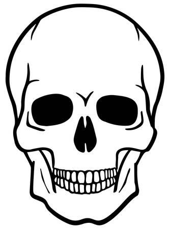vector skull danger sign: Black and white human skull - vector illustration Illustration