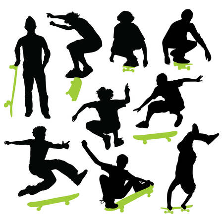Collection of skateboarding vector Illustration