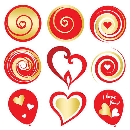 Valentines Day red and gold digital design elements