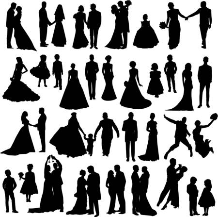 nuptial: Wedding party silhouettes - vector elements